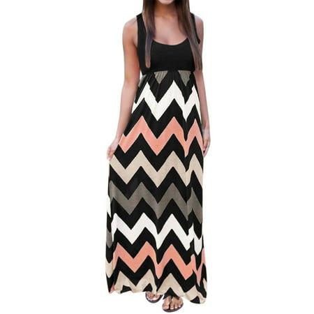 Ladies Apparel - Women's Sleeveless Scoop Neck Empire Waist Chevron Maxi Dress Pale