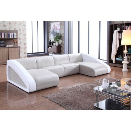 1perfectchoice Modern U Shaped Grey White Leather Sectional Sofa