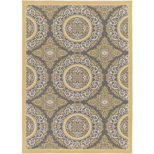 5.25' x 7.25' Moroccan Motif Jasmine Yellow and Charcoal Gray Area Throw Rug