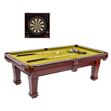 Barrington Hatherley 100 inch Billiard Table with Dartboard Cabinet set, billiard balls, two cues, one wooden ball rack, one wooden brush, two chalks, 6 steel tip darts and flights, Brown/Green