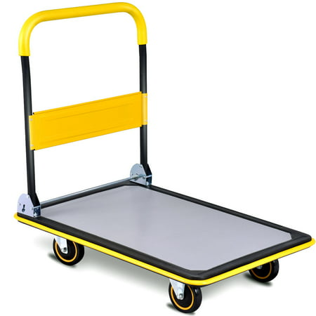 Costway 660lbs Folding Platform Cart Dolly Push Hand Truck Moving Warehouse Foldable