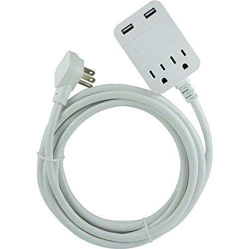 GE Pro 2-Outlet 2-USB 12ft. Extension Cord, Surge Protector, 32089