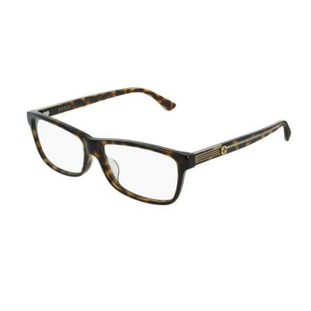 Gucci GG0378OA 002 Eyeglasses Dark Havana Brown Frame -