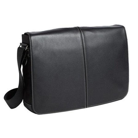 Boconi Tyler Tumbled Slim Messenger Bag in Black with