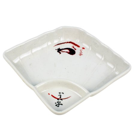 Kitchen Utensil Plastic Square 2 Compartment Soy Sauce Dipping Dish Plate