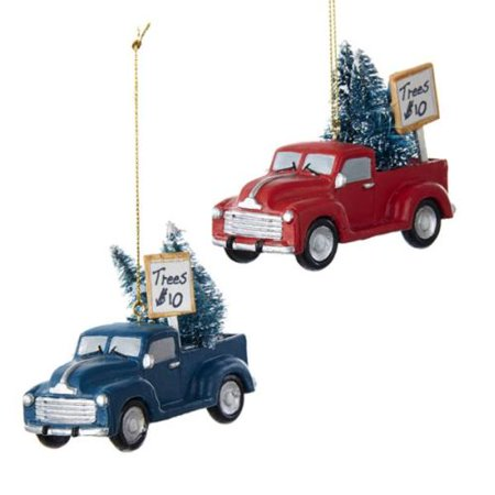 Car Christmas Ornaments.1 Set 2 Assorted Red And Blue Car With Tree 3 Inch Resin Christmas Ornaments