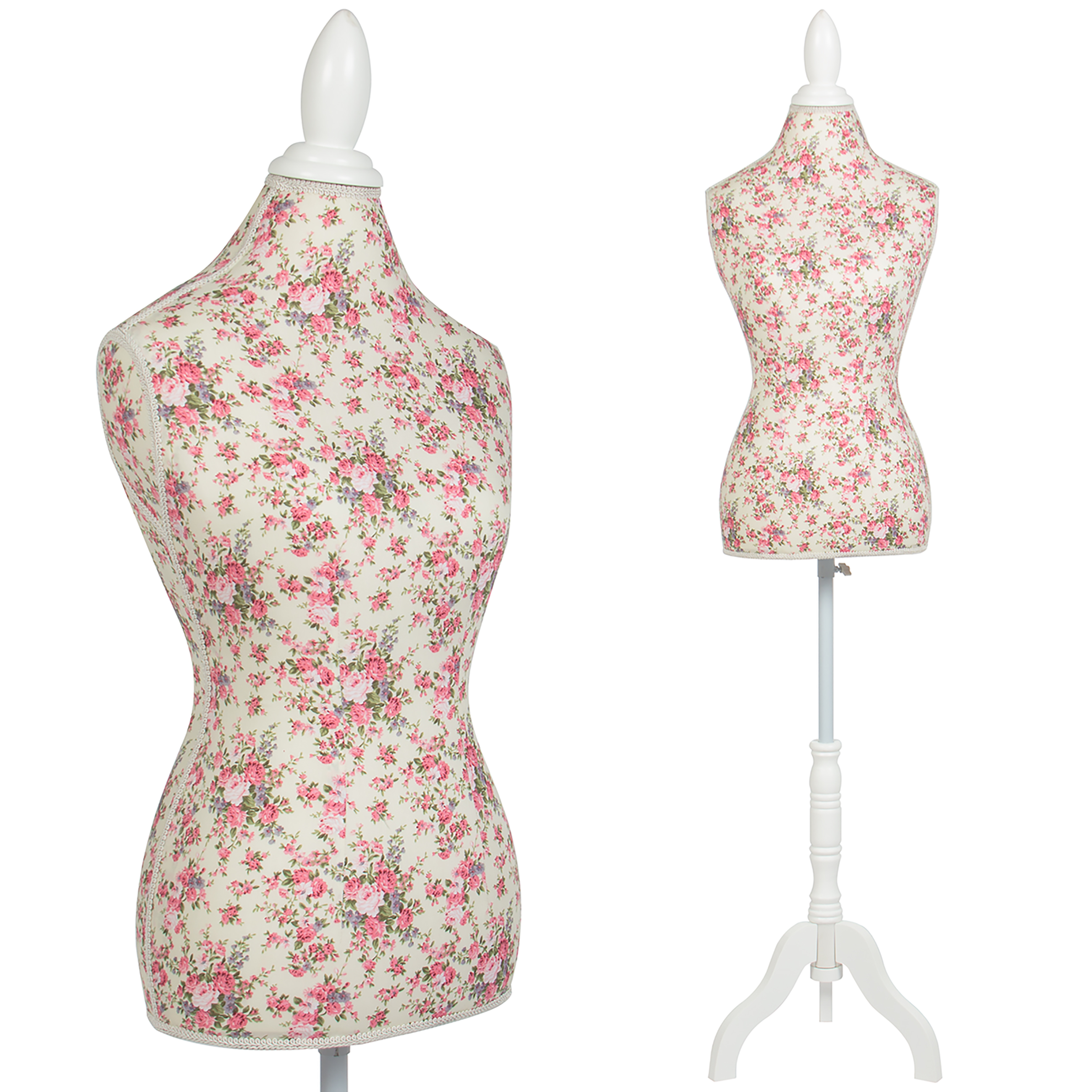 Female Mannequin Torso Dress Form Display W/ White Tripod Stand Floral Pattern