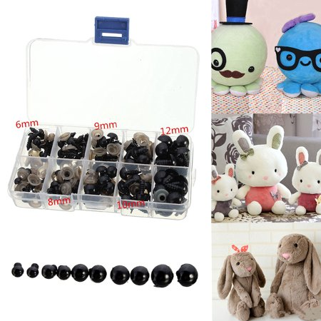 - 100x Plastic Black Safety Eyes 6-12mm For Teddy Bear Doll Animal DIY Decor Case Package