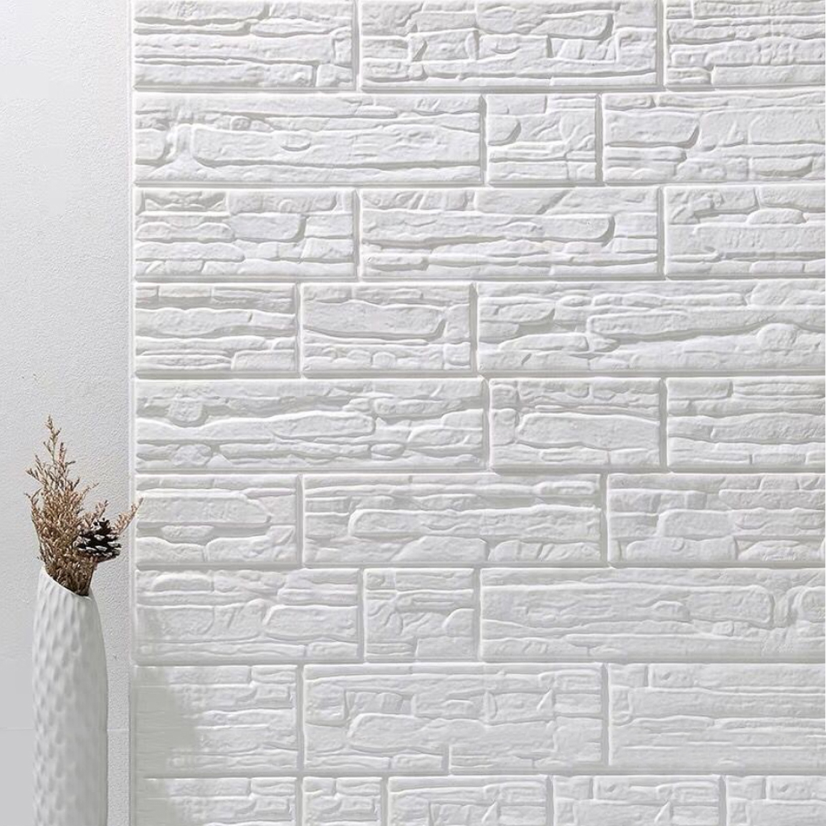 Foam 3D Tile Brick Wall Carved Wallpaper Panels Sticker Self-Adhesive DIY Decor