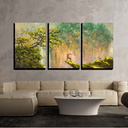 wall26 - 3 Piece Canvas Wall Art - Painting of Deer on The Edge of a Cliff in a Mountain Forest on Canvas - Modern Home Decor Stretched and Framed Ready to Hang - 16