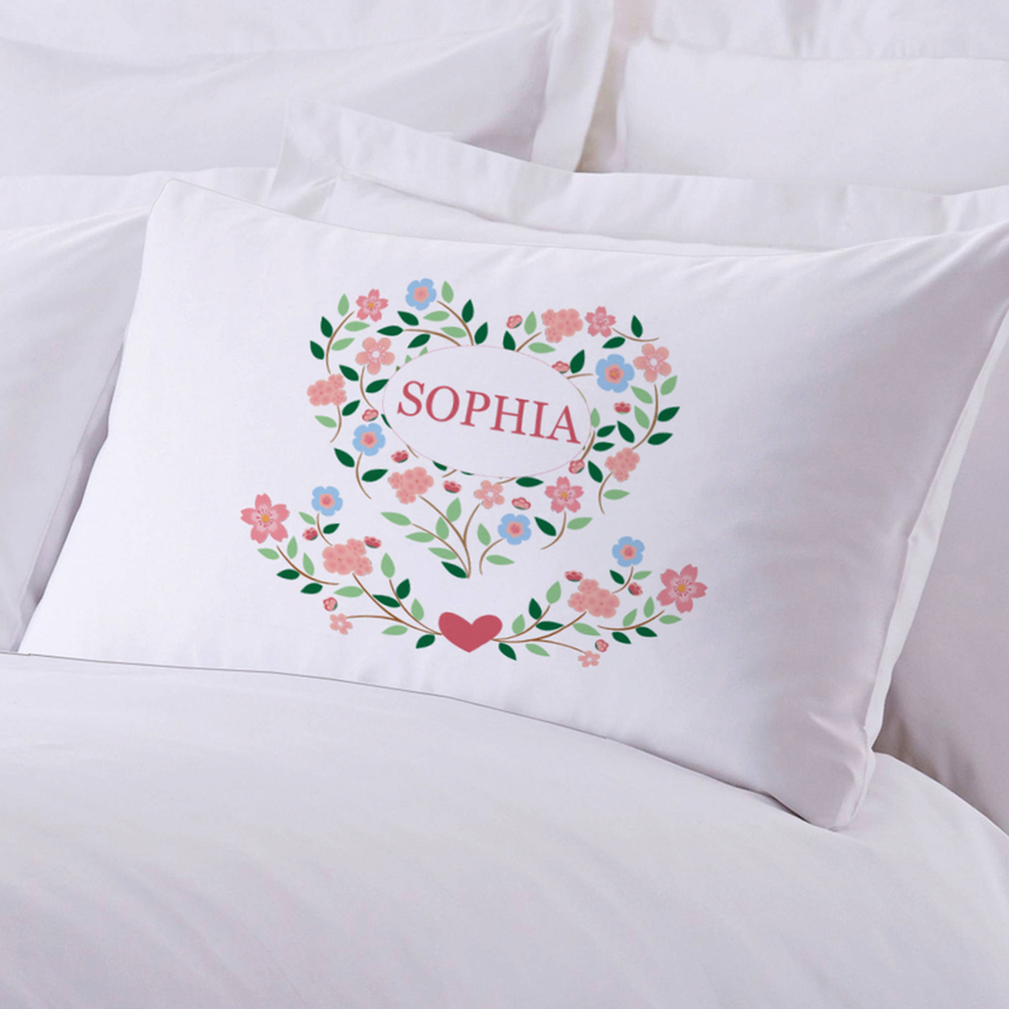 "Personalized Sleeping Floral Hearts Pillow Case, 20"" x 30"""
