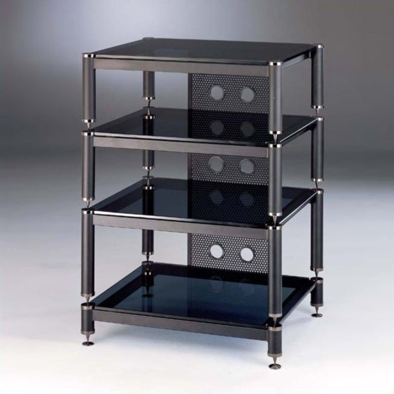 VTI BLG Series 4 Shelf Audio Rack-Silver / Silver / Black