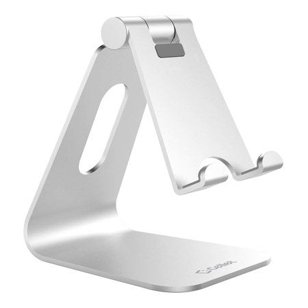 Adjustable Desktop Stand, Heavy Duty Adjustable Aluminum stand with 270 Degree Rotation for Smartphones, Tablets, iPads and Nintendo Switch Silver