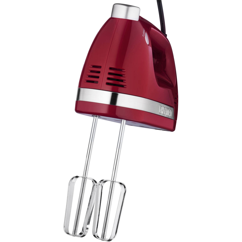 Chefman RJ17-V2 250 Watt Ultra Turbo Power Hand Mixer with BONUS Free Set of Dough Hooks, Red