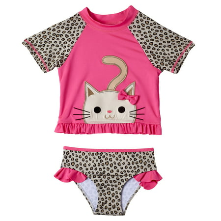 Baby Toddler Girl Kitten Short Sleeve Rashguard Tankini Swimsuit, 2pc Set
