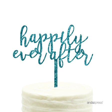 Happily Ever After Cake Topper (Aqua Blue Glitter Happily Ever After Acrylic Wedding Cake)