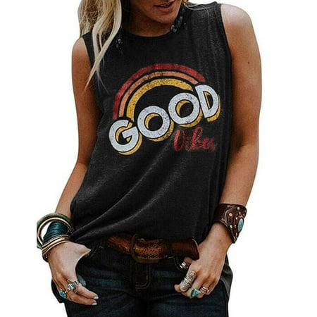 ZXZY Women Vintage Sleeveless Good Vibes Rainbow Casual Graphic Tee T-Shirt ()
