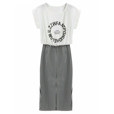 Lavaport Women Casual Loose Clothes Printed T-Shirt+Stripe Dress Fashion Suit