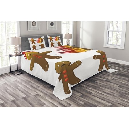 Gingerbread Man Bedspread Set, Gingerbread Man in Humorous Positions Caught on Fire Eaten Figures, Decorative Quilted Coverlet Set with Pillow Shams Included, Caramel Red Yellow, by Ambesonne