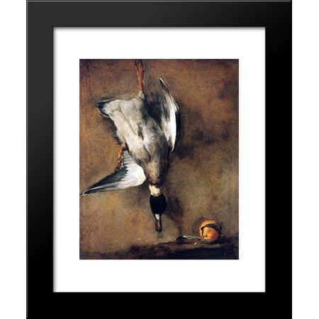A Green Neck Duck with a Seville Orange 20x24 Framed Art Print by Jean-Baptiste-Simeon - Seville Orange