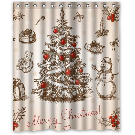 GreenDecor Merry Christmas Snowman Waterproof Shower Curtain Set with Hooks Bathroom Accessories Size 60x72 inches](Snowman Bathroom Sets)