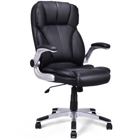 Costway High Back Executive Office Chair PU Leather Swivel Desk Task Computer