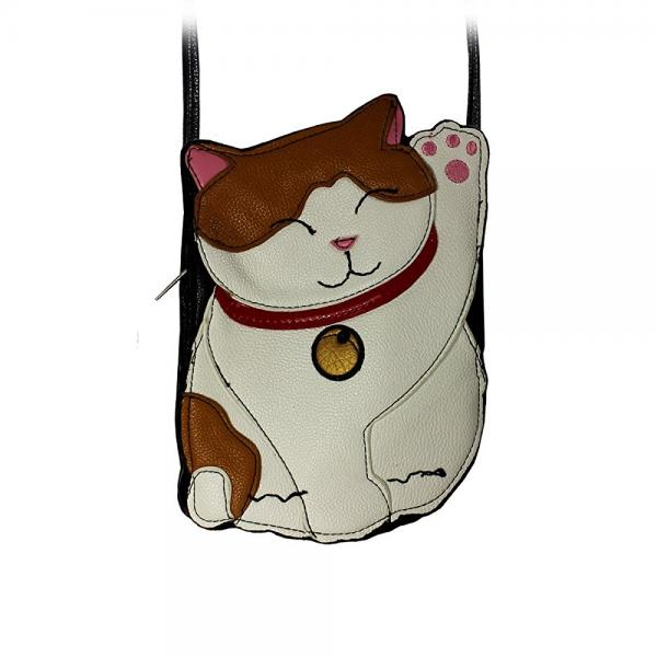 Lucky Kitty Leatherette Shoulder Purse in White