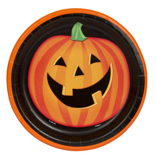 "9"" Jack-O-Lantern Smile Halloween Party Plates, 30-Count"