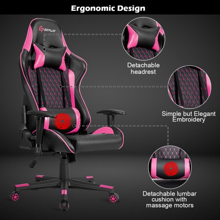 Massage Gaming Chair Reclining Racing Chair w/Lumbar Support and Headrest Pink - image 7 of 10