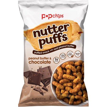 Popchips Nutter Puffs - Peanut Butter & Chocolate 4 Oz, 5 Ct (Cigar Puff)