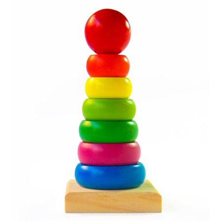 Wooden Toy Rings - Boxiki kids Rainbow Stacking Rings | Wooden Educational Toys to Stimulate Brain Development & Fine Motor Skills | All-Natural BPA-Free Rainbow Stacker for Educational Play | Classic Toys