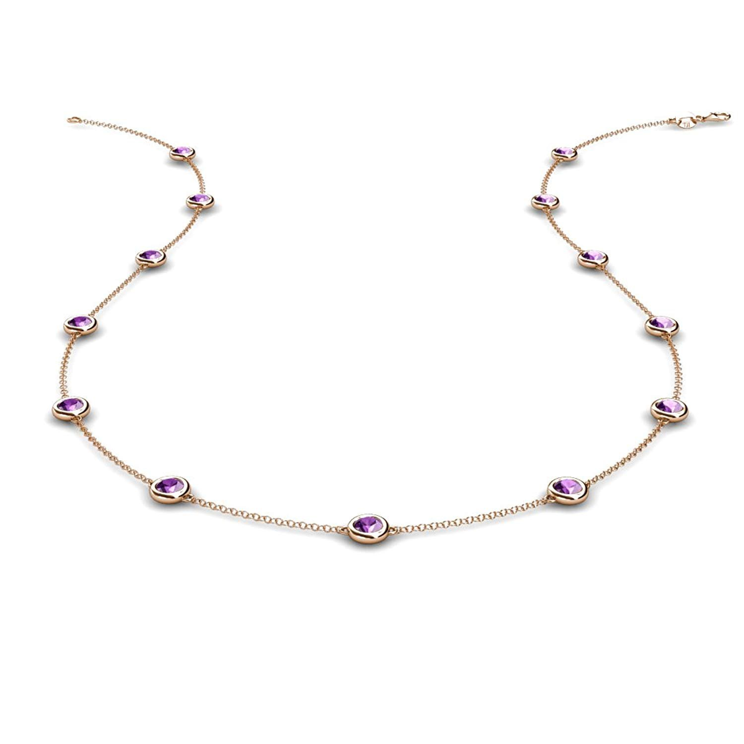 Amethyst 13 Station Necklace 1.04 cttw in 14K Rose Gold by TriJewels