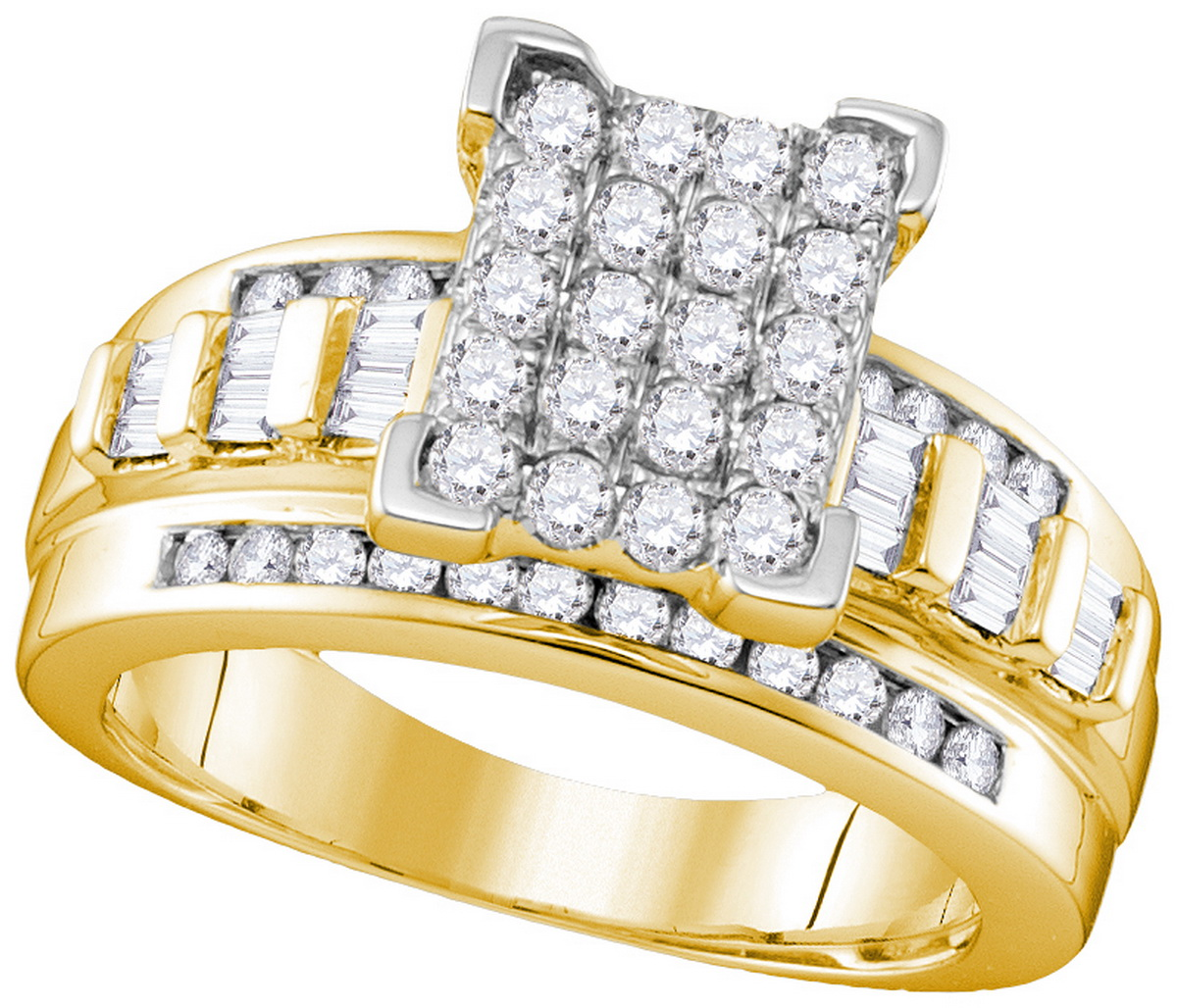 10kt Yellow Gold Womens Round Diamond Rectangle Cluster Bridal Wedding Engagement Ring 7 8 Cttw Size 9.5 by Jewels By Lux