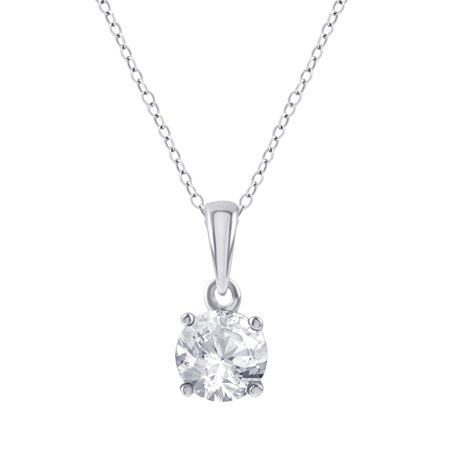 1/4 Carat T.W. Diamond Sterling Silver Round Diamond Solitaire Pendant Cosmopolitan Diamond Pendants