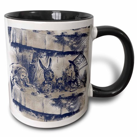 3dRose Alice in Wonderland Tea Party with Mad Hatter - Two Tone Black Mug, 11-ounce - Mad Hatter Party
