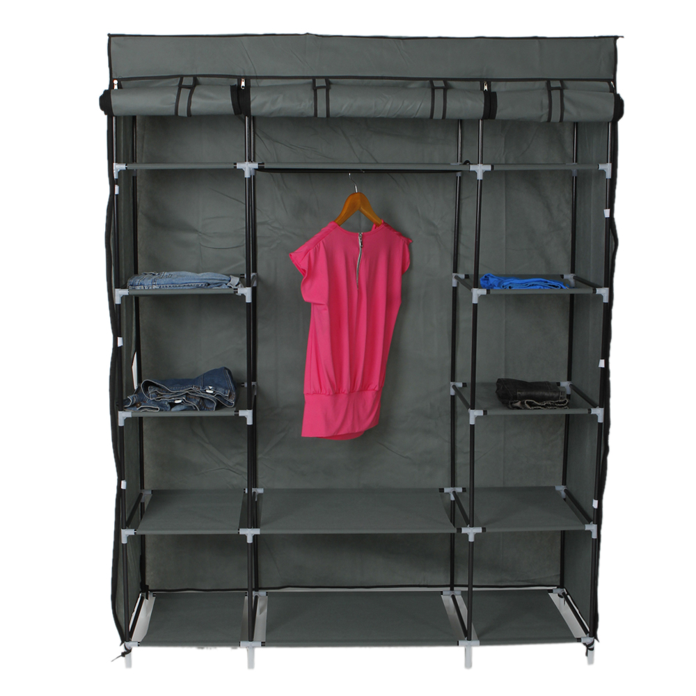 Ktaxon Portable Closet Wardrobe Clothes Rack Storage Organizer With Shelf Gray Storage by