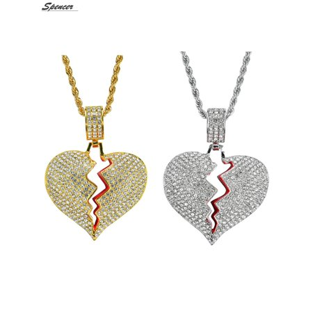 Spencer Iced Out Diamond Broken Heart Pendant Necklace Chain for Men Women Couple Jewelry Gifts - Bulk Jewelry Chain