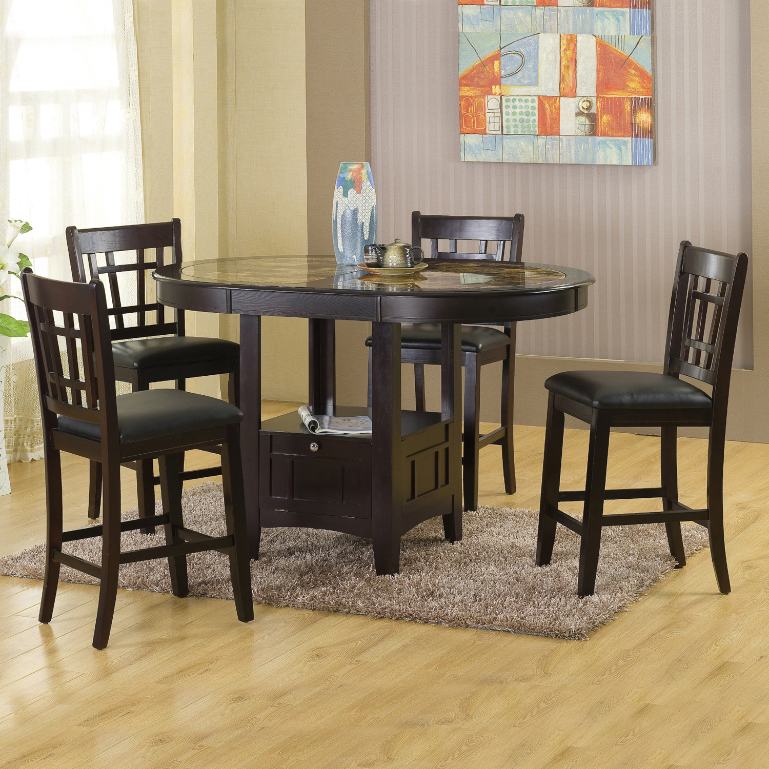 Home Source Charleston Capuccino Counter Height Table and 4 Chairs
