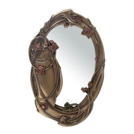 17.25 Inch Oval Wall Mirror Bronze Hue Maid with Roses and (Bronze Oval Spring)