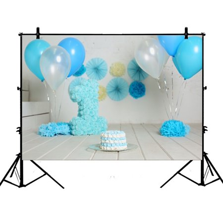 GCKG 7x5ft 1st Birthday for Boy Blue Cake Smash Polyester Photography Backdrop Studio Prop Photo Background - image 4 of 4
