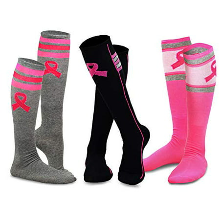 TeeHee Breast Cancer Awareness Cotton Knee High Socks for Women 3-Pack - Breast Cancer Socks Bulk