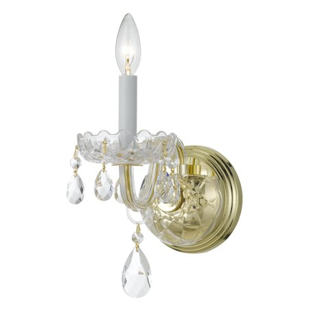 Traditional Crystal Glass Sconce - Crystorama Traditional Crystal 1031-PB-CL Wall Sconce Light