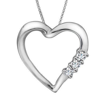 1/10 ct Diamond Heart Pendant Necklace in 14kt White Gold