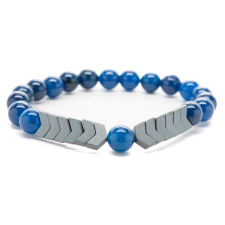 Wrist Beads Semiprecious Stone Bracelet - Real Navy Blue Agate and Hematite Gemstones - for Chakra Healing and Balancing, fits Men and Women 7 inch - Adds Boho Charm to (Blue Agate Healing)