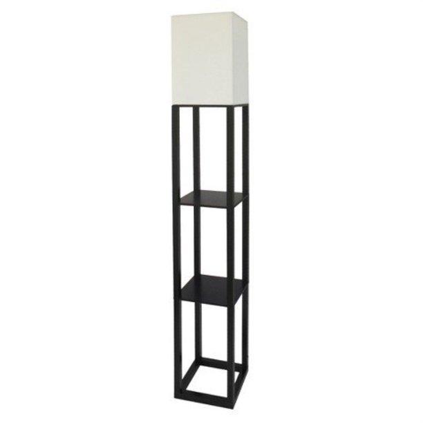 threshold shelf floor lamp with white shade - black ...