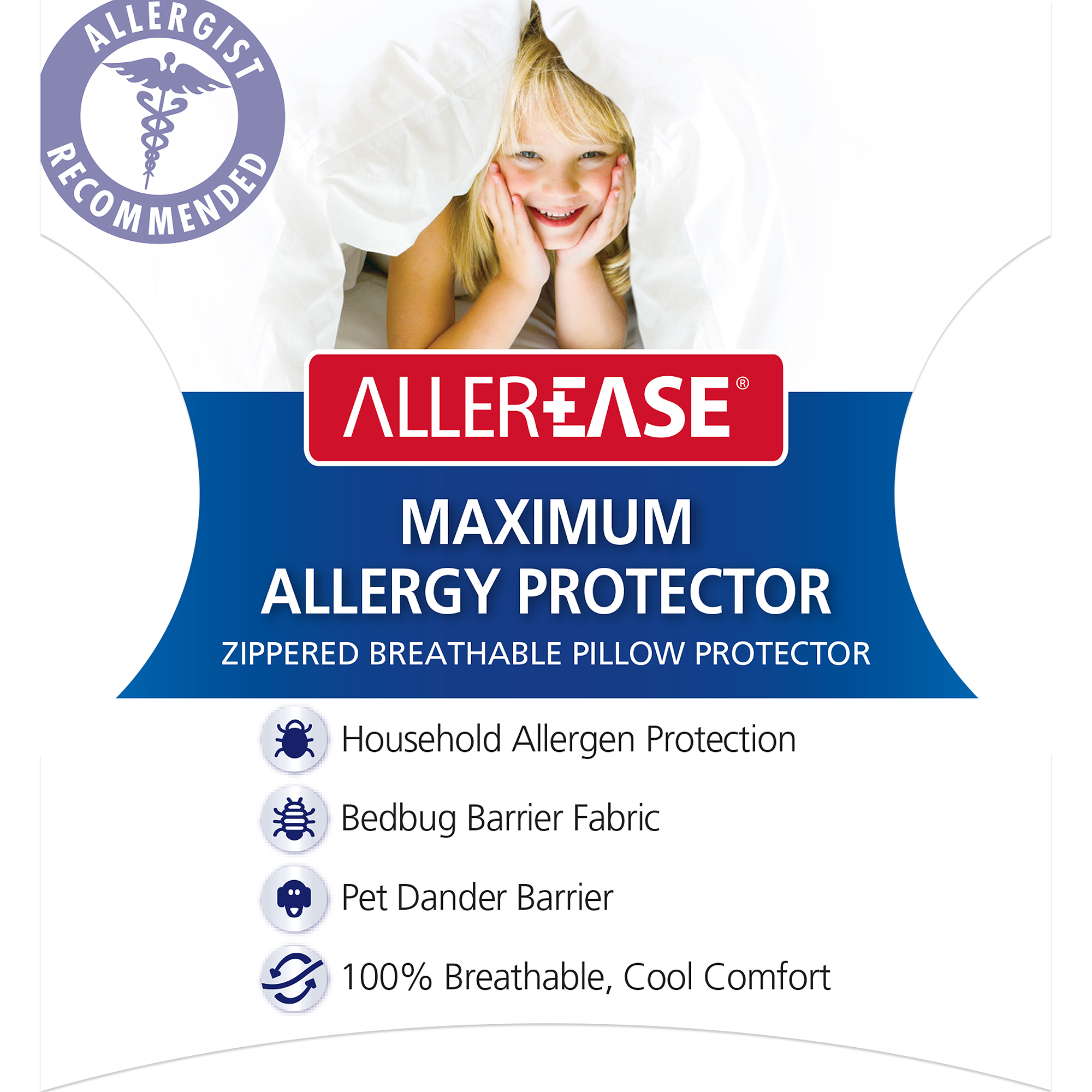 AllerEase Maximum Bed Bug Protection Zippered Pillow Protector, 10 Year Warranty by American Textile Company