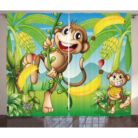 Nursery Curtains 2 Panels Set, Two Monkeys Near the Banana Plant Tropical Nature Landscape Vine Funny Animals Apes, Window Drapes for Living Room Bedroom, 108W X 108L Inches, Multicolor, by Ambesonne