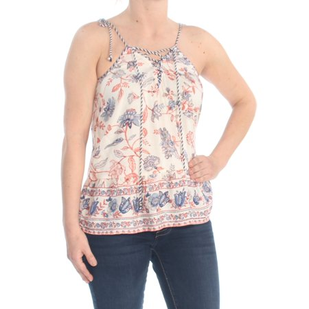 JESSICA SIMPSON Womens Ivory Tie Floral Spaghetti Strap Top Size: S