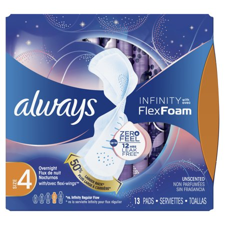 Always Infinity Size 4 Overnight Sanitary Pads with Wings