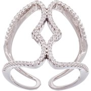 CZ 18kt White Gold over Sterling Silver Double-Strand Ring